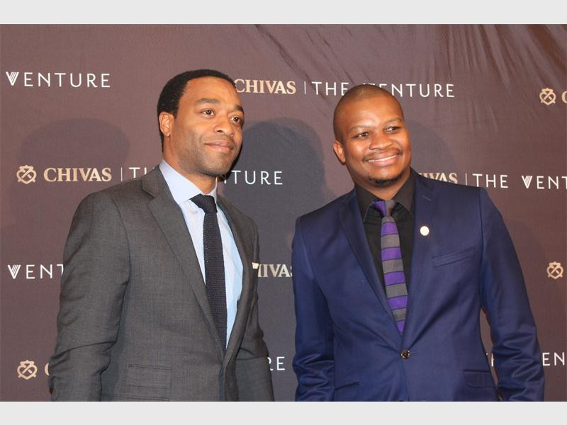 Ready to go... Chivas brand ambassador and actor, Chiwetel Ejiofor, with Chivas South Africa brand manager, Mandla Holomisa, at the launch of The Venture initiative in Hyde Park.