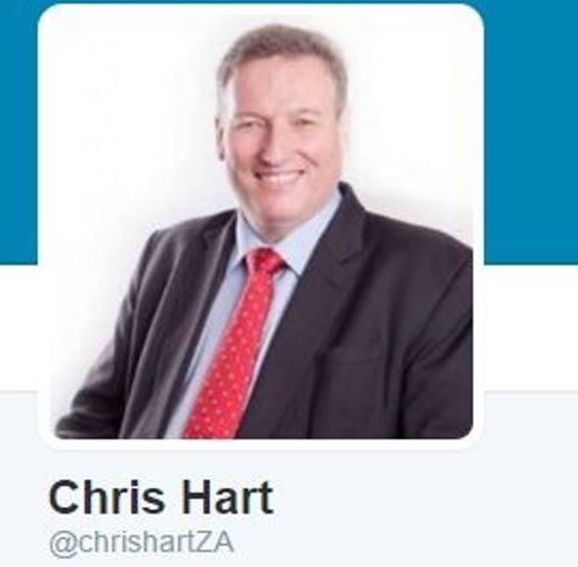 Chris Hart's Twitter profile. Photo: Twitter/@chrishartZA