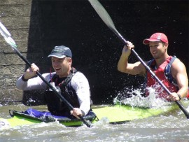 Toughing it out... Anthony Mundy-Castle and Christoff Krige participate in the final river race in Gauteng ahead of the upcoming Dusi Canoe Marathon.