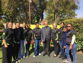Excitement... President Jacob Zuma with members of staff of his grandchildren's pre-school, FasTrackids in Parkmore.