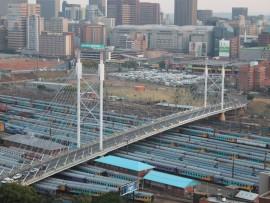 A picture of Nelson Mandela Bridge in Johannesburg.
