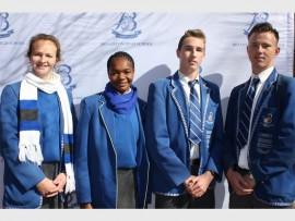 Bryanston High School's athletics captains, Candace Eslick, Hannah Zulu, Dustin Osborne and Keegan Wiedeman.