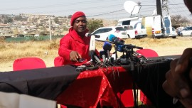 Godrich Gardee at the EFF press conference in Alexandra.