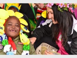 Kea Bopape and Alma School teacher Jenine Esterhuysen at a previous Casual Day celebration.