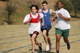 Hyde Park runner Sherazaad Dollie striding out in the 800 m boys race vs La Salle and King David Linksfield