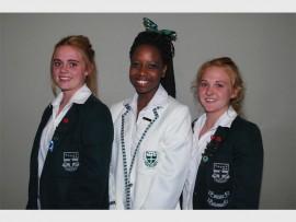 Brescia House School's new leaders, Kelly Viljoen, deputy head girl; Tadiwanashe Mutambara head girl and Sinead Wortley, deputy head girl.