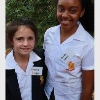 Chante Kruger and Rochelle Smuts on their first day of high school.