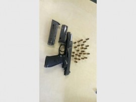 A firearm, magazine and ammunition discovered in Bryanston.