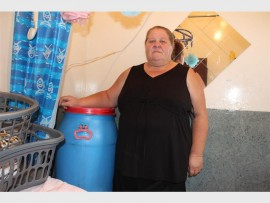 Mrs Theresa Cheary standing next to her homemade geyser.