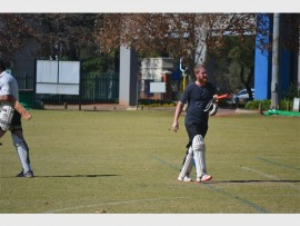 Jaco Taljaard, a cricket player for the Boertjie 2 team, getting ready to go on the field. On Saturday, June 18, Boertjies 2 played against Old School at the Jeppe Quandom in the autumn league for Bedfordview Last Man Stands (LMS).