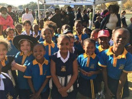 The pupils from Sacred Heart College, who participated in the soccer and netball festival.
