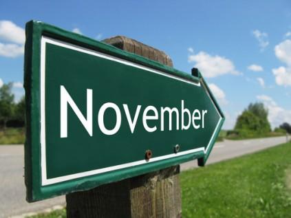 NOVEMBER road sign