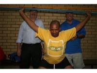 RUGBY FITNESS: Siya Funda,Chairman Manie Reyneke and conditioning Coach Les Archer looking on.