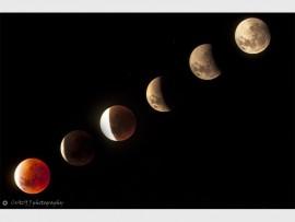 MAANSVERDUISTERING: Jacques van der Linden het dié foto's van die onlangse gedeeltelike maansverduistering en die super-bloedmaan met sy kamera vasgelê. Foto: Jacques van der Linden/ Crazy J Photography