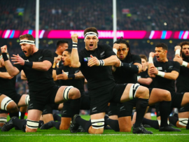 New Zealand doing the Haka before the game. *Photo: Rugby World Cup Twitter page.