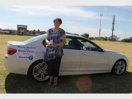 TROTS: Martie Heystek by haar nuwe voertuig.