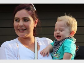 SUCCESS: Baby Caylum with his mother Samantha. Caylum's surgery went well.