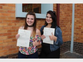 HOËRSKOOL ALBERTON: Here are Bianca Small and Chante-Leze Pieterse. They were so excited about their results. They will both further their studies at the North West University (NWU) in Potchefstroom.