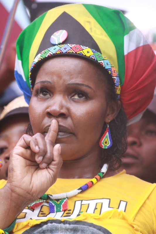 Khensani taking a moment of silence for international icon Nelson Mandela at FNB Stadium