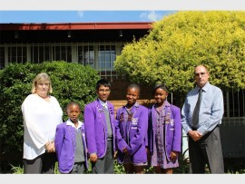 LEADERS: Teacher Lauren Murray and head prefects, Karabo Mphambela, Muhannad Tai, Khotsofatso Masetle and Thami Yona and school principal Nicholas Greyling.