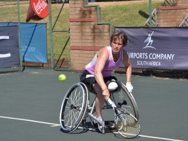 Gauteng Wheelchair tennis action.