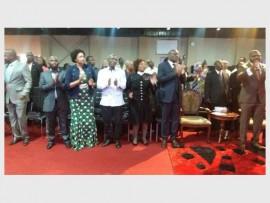 PREMIER: The Gauteng Premier, David Makhura (in black suit), with Columbus Ncuthe (left), Ella Veyi, Peter Skhosana (Gauteng Provincial Legislature Secretary) and Apostle Felix Okoh (right). Photograph: supplied.