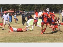 SCORING MODE: Hoërskool President High School scoring a try against Goudrif.
