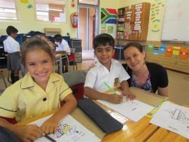 WORK BEGINS: Gabriella Visser, Avinash Jose and Mrs Amanda Nuyten.