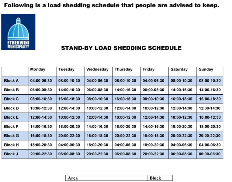 Loadshedding Schedule Hd: Load Shedding Schedule [KEEP]