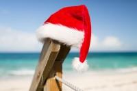 close up of santa helper hat on beach