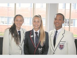 Amanzimtoti High School head girl Katie Dawe, deputy head girl Kelly van Niekerk and head boy Kwanda Dladla at the school's Prefect Interact Day on Tuesday, 26 April.