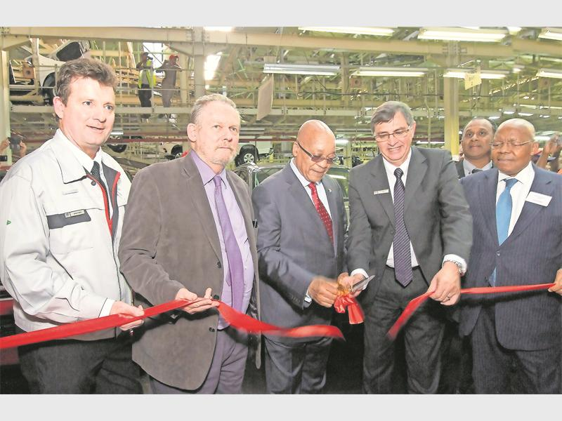 Senior Vice President Toyota Motors SA: Manufacturing Group, Dave Finch,  Minister Rob Davies And Dr Ben Ngubane Watch President Jacob Zuma And  Chairman Of ...