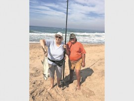 Corrie and her husband Frank Diamond show off her first catch, a 5.5kg garrick.