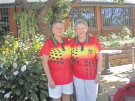 ABC's handicap singles champion Jeanne Alexander and senior singles champion Barbara Beamson.