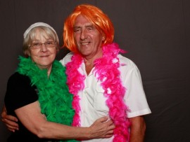 Lilian and John Webster have fun at the Probus Christmas party at Toti Golf Club on Friday, 25 November. ALL PHOTOS: Photo booth sponsored by Oakleigh Funeral Home