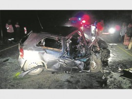 One of the vehicles involved in a head-on collision on the R603 in Umbumbulu on Sunday night, 4 December, where three people died.
