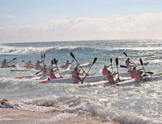 The single male surfski competitors take to the shore at Toti main beach on Sunday, 15 January during the 2017 KZN senior open lifesaving championships.