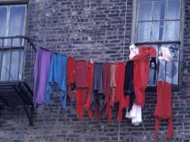 washing hanging in public