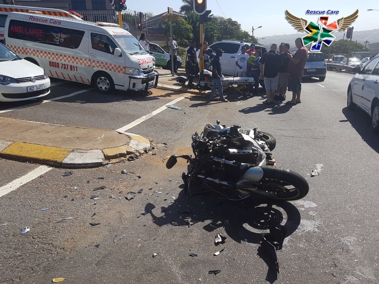 JUST IN Biker injured in Bluff Road crash