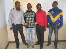 The Elukwatini police officers who arrested the accused, Teli Nelson Motha (second from left), are Consts Gordon Mahlangu, Freedom Nkambule and Derrick Mathebula.