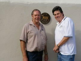 Replacing the Jock markers in and around Barberton this past week are Danie Cilliers of Talisman Hire and Dr Gerrit Haarhoff, project leaders for Mpumalanga Heritage. This is the new plaque at the Diggers Retreat at Noordkaap which will be unveiled on November 12, followed by an old-fashioned Victorian diggers' lunch at the hotel.