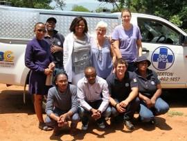 Front: Lukhanyo Mpumela (from NLC), Caleb Lekhuleni (from NLC), Niek van Dyk (SPCA trainee-inspector), Jane Vilakazi (SPCA kennel assistant). Back: Amandla Sithole (from NLC), Matthews Moyo (SPCA kennel assistant), Gladys Petje (NLC senior specialist brand management), Marlies Liebenberg (secretary SPCA) and Laura-Jane Harrod (chairman SPCA).