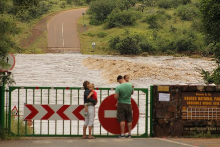 The submerged Crocodile River Bridge at Komatipoort.