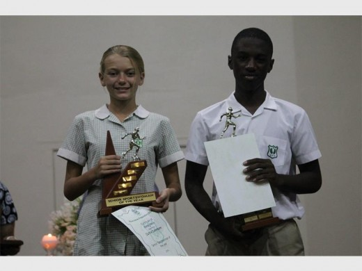 Junior sportswoman and sportsman Caitlin Dehrmann and Loyiso Mangena.