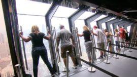 Tilting attraction on 94th floor of Chicago's Hancock Center.