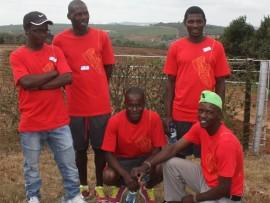 The winners: Adonia Samere, Simbarashe Samere, Rufas Gazit (front) Lucky Manyisa and Sifiso Khoza.