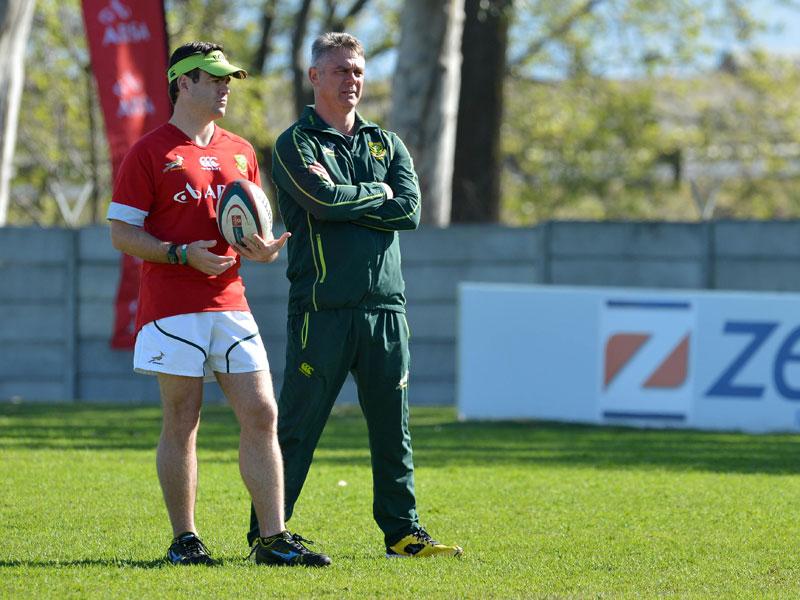 Johann van Graan and Heyneke Meyer, Springbok Coach ©Chris Ricco/BackpagePix