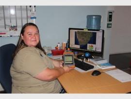 Colette van Rooyen with the GIS device that won her the prestigious ESRI award.