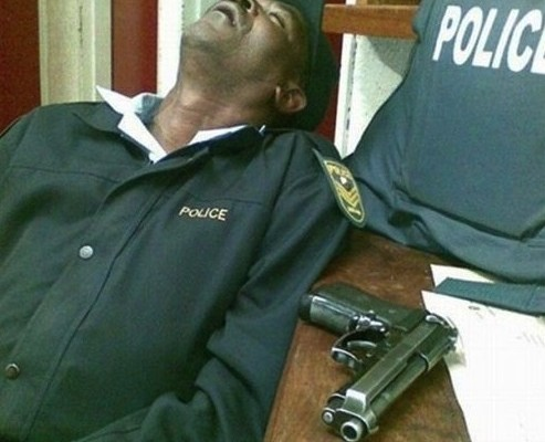 Image result for images of South Africa police sleeping on duty