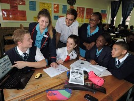Here Dylan Brough, Kayla Kleynhans, Jessica Lopes, Baran Conradie, Thlareane Makondo, Natacia Hlebeya and Lee Jacobs work on their project.